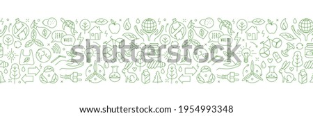 No plastic, go green, Zero waste concepts. Reduce, reuse, refuse, Reycle, Rot ecological lifestyle and sustainable development. Linear icons style illustration seamless pattern border doodle drawing.