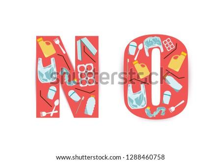 No plastic waste on white background