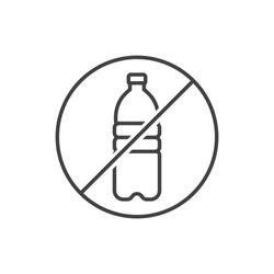 No plastic water bottle line icon.