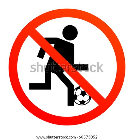 No play or football sign, vector illustration