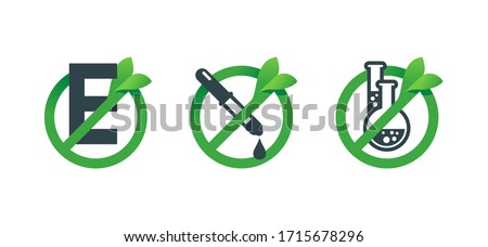 No preservatives, no additives, E number and dye free 3 in 1 stamp - organic food stickers set - green natural vector icons (labels) Сток-фото ©