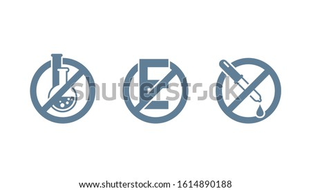 No preservatives, no additives, E number and dye free stamp - organic food stickers set - monochrome vector icons (labels) Сток-фото ©