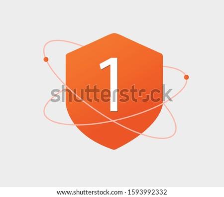 No.1 Protection shield vector icon Foto d'archivio ©