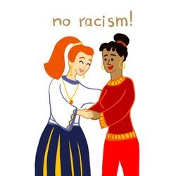 No racism! Dark-skinned girl hug light-skin woman. Hand drawn vector illustration isolated on white background. Interracial hugs. Multiethnic friendship concept.