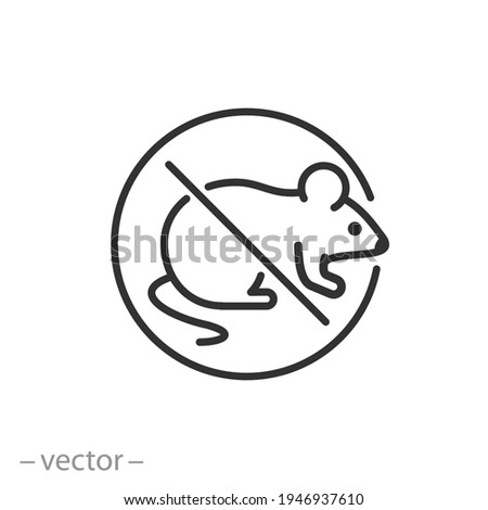 no rats, control or anti pest, mouse icon, mice prohibition, deratization rodent, exterminate or ban, thin line symbol on white background - editable stroke vector illustration eps10 Сток-фото ©