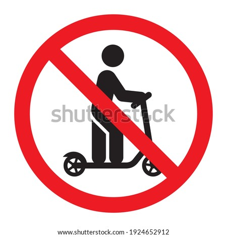 No scooter sign. Kick scooter not allowed. Prohibition sign. Vector icon isolated on white background. Foto stock ©