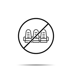 No seats in the cinema icon. Simple thin line, outline vector of cinema ban, prohibition, embargo, interdict, forbiddance icons for ui and ux, website or mobile application