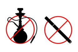 No shisha, hookah or cigarette smoking signs set, collection isolated on white background.