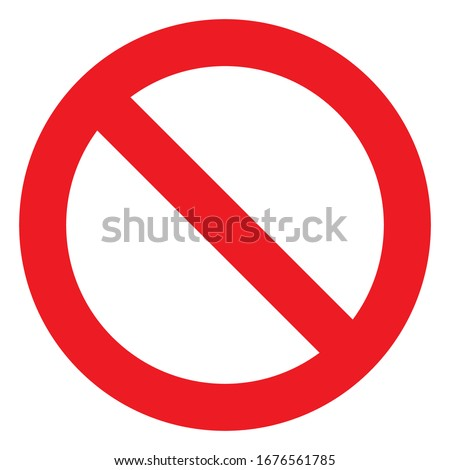 No sign, ban vector icon, stop symbol, red circle with oblique line isolated mark Сток-фото ©