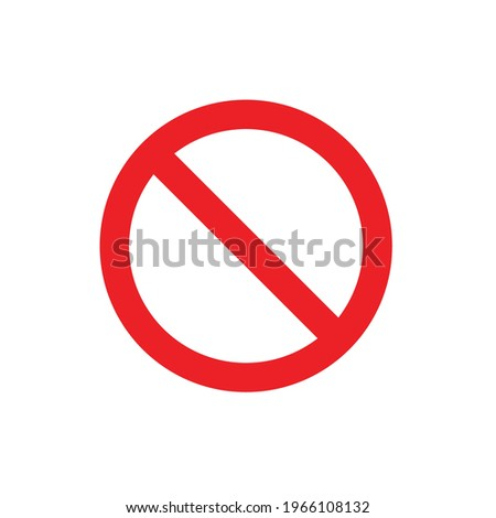 No sign, ban vector icon, stop symbol, red circle with oblique line isolated mark. Vector illustration. General prohibition sign. Red circle with a red diagonal line through it.  Foto stock ©