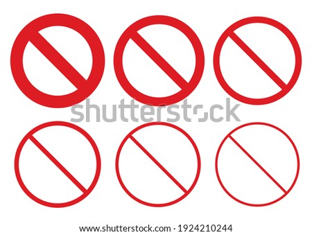 No sign Red prohibition sign icon set. Vector illustration image. Isolated on white background. Photo stock ©