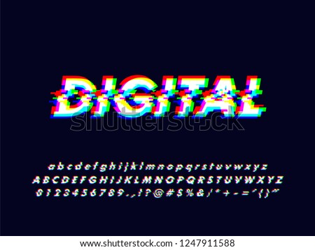 No signal glitches rgb screen alphabet character design with particle led screen error effect, font typeface character alphabet typography type typo