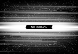 No signal on screen background, glitch mosaic digital noise. Video source failure, digital file corrupted or damaged data, television screen, computer display or monitor connection error