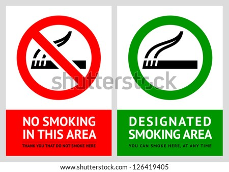 No smoking and Smoking area labels - Set 4, vector illustration