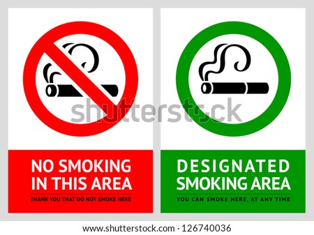 No smoking and Smoking area labels - Set 7, vector illustration