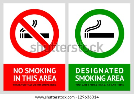 No smoking and Smoking area labels - Set 13, vector illustration