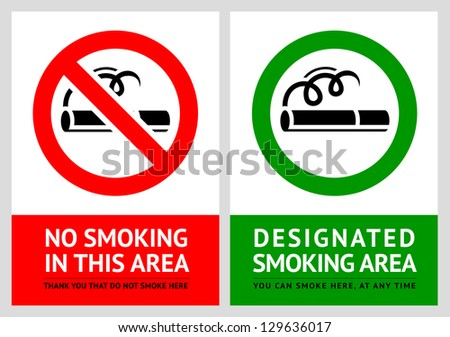 No smoking and Smoking area labels - Set 11, vector illustration - stock vector