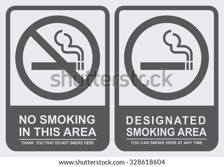no smoking and smoking area sign set vector illustration