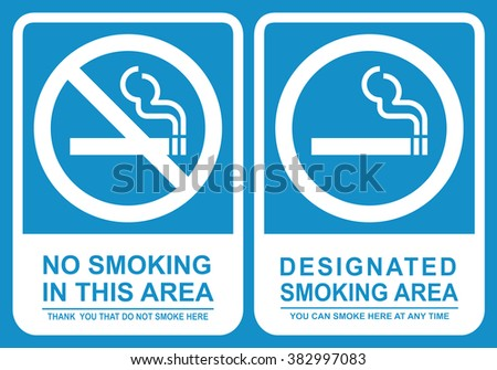 No smoking and Smoking area sign set . Vector illustration