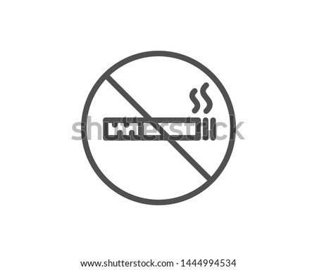 No smoking line icon. Stop smoke sign. Hotel service symbol. Quality design element. Linear style no smoking icon. Editable stroke. Vector