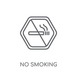 No smoking linear icon. Modern outline No smoking logo concept on white background from Hotel and Restaurant collection. Suitable for use on web apps, mobile apps and print media.