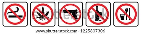 No smoking,no marijuana,no gun,no alcohol,no food symbols collection- Prohibition signs collection