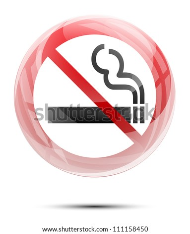 No smoking sign in the glossy glass sphere