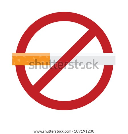 No smoking sign isolated on white. Vector illustration with simple colors.