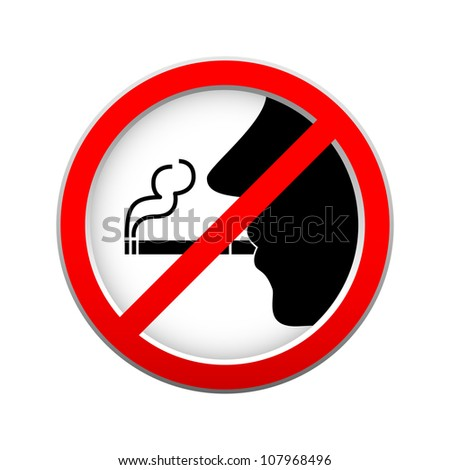 no smoking sign on white background - stock vector