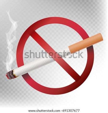 No Smoking Sign Vector. Illustration Isolated On Transparent Background. Cigarette With Smoke And Red No Smoking Area Label Symbol