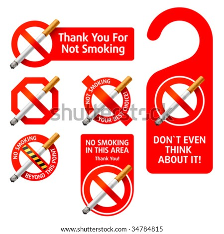 No Smoking signs. Vector. Detailed portrayal.