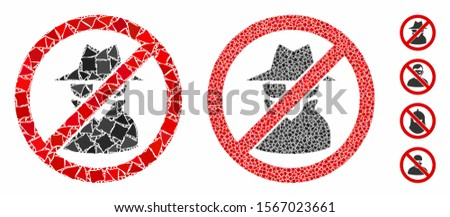 No spy composition of raggy pieces in variable sizes and color tinges, based on no spy icon. Vector abrupt pieces are organized into collage. No spy icons collage with dotted pattern. Foto stock ©