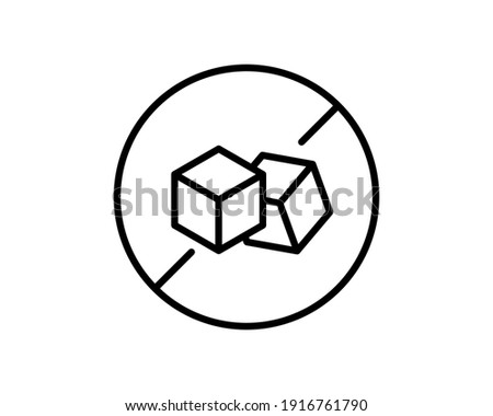 No Sugar free vector icon. Vector sugar cubes in circle icon for no sugar added product package design.