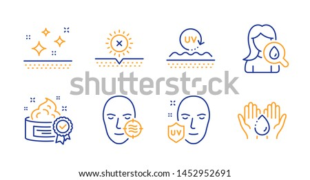 No sun, Problem skin and Clean skin line icons set. Uv protection, Uv protection and Moisturizing cream signs. Cream, Wash hands symbols. Facial care, Ultraviolet. Beauty set. Line no sun icon. Vector