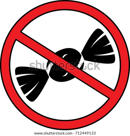 No Sweets and Candies Prohibition Sign with White Round Plate. No Candy forbidden symbol. No Sweets Vector Illustration with white background.