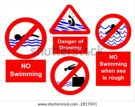 No swimming during rough seas or diving signs