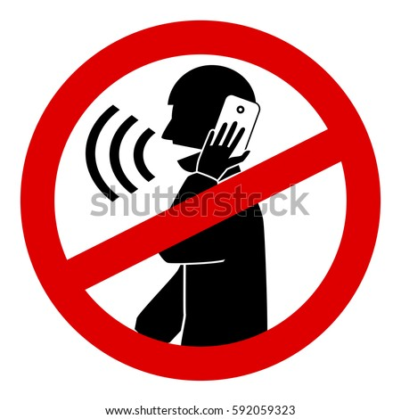 no talking cell phone sign vector isolated on white background