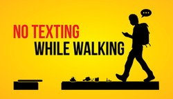 No texting while walking banner graphic vector.