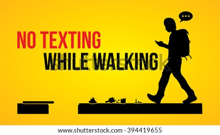 no texting while walking banner
