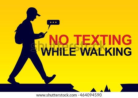 no texting while walking banner