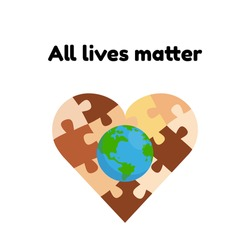 No to racism vector illustrationPuzzle in the form of a heart with the planet earth. All lives matter concept. Puzzles of different skin colors. Template with text for a poster or banner