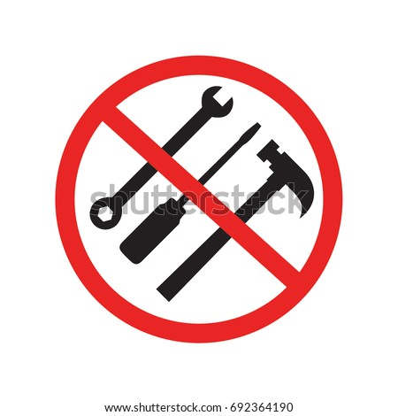 No tool needed, no need to install by tools icon with red stop sign, black flat glyphs design vector, isolated on white background
