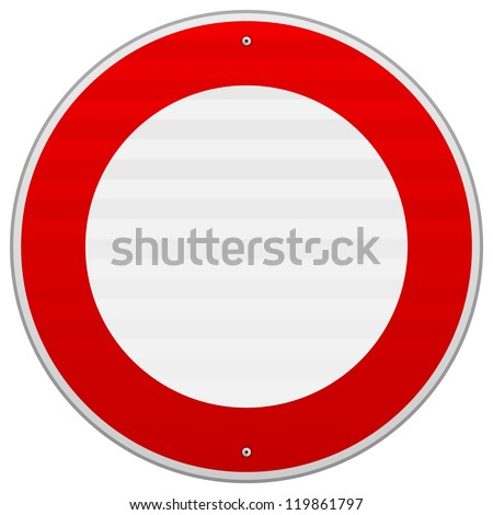 No Traffic Red Sign - Circular road sign in red and white color as isolated illustration