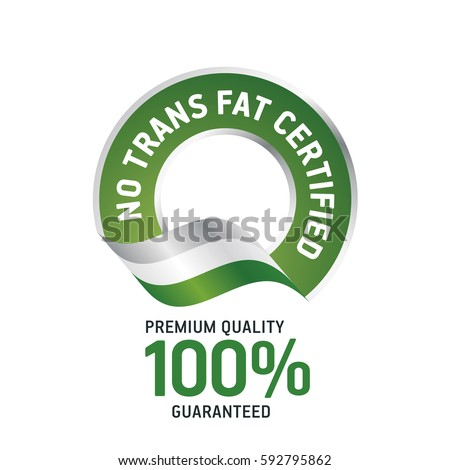 No Trans Fat Certified green ribbon label logo icon