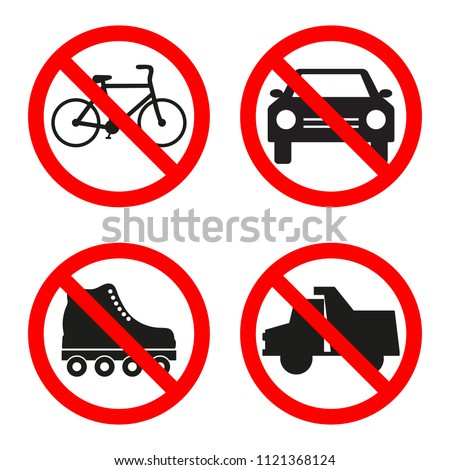 No truck, car, rollers, bicycle forbidden sign on white background.
