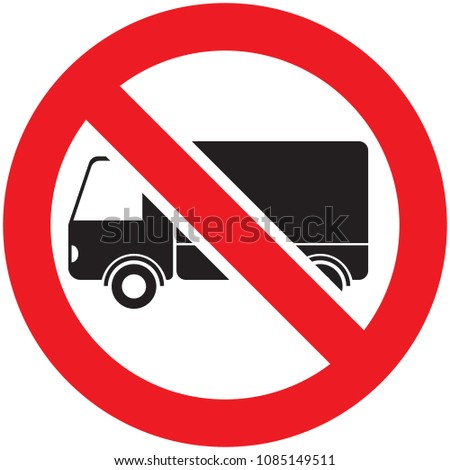 No truck or no lorry prohibit sign, vector illustration