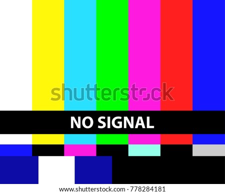 No TV signal. Not getting a signal symbol, screen displays color bars pattern error message, problem with the connection. Vector flat style cartoon illustration