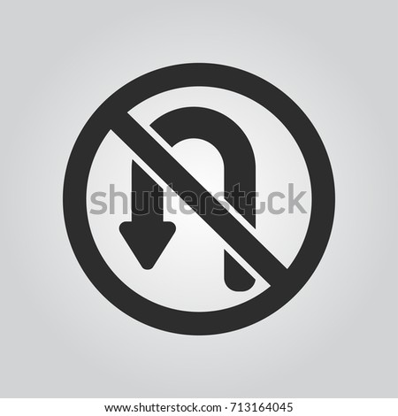 No U turn sign icon