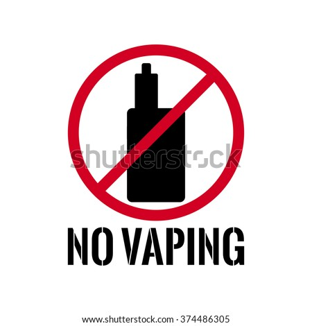 No vaping. Sign, which prohibits smoking electronic cigarettes. Stock vector.