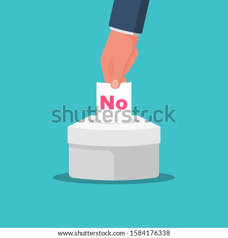 No vote. Voting, election concept. Vector flat design style. Man hold in hand bulletin, puts in ballot box isolated. Casting vote. Politics poll, choice. Makes choice. Сheck mark on questionnaire.